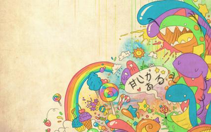 Картинка радость, Абстракция, мороженое, радуга, монстрики, конфеты