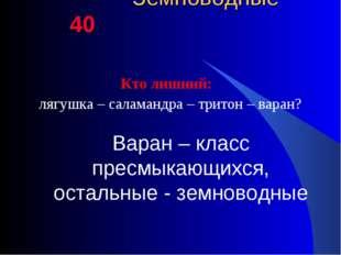 Земноводные 40 Кто лишний: лягушка – саламандра – тритон – варан? Варан – кл