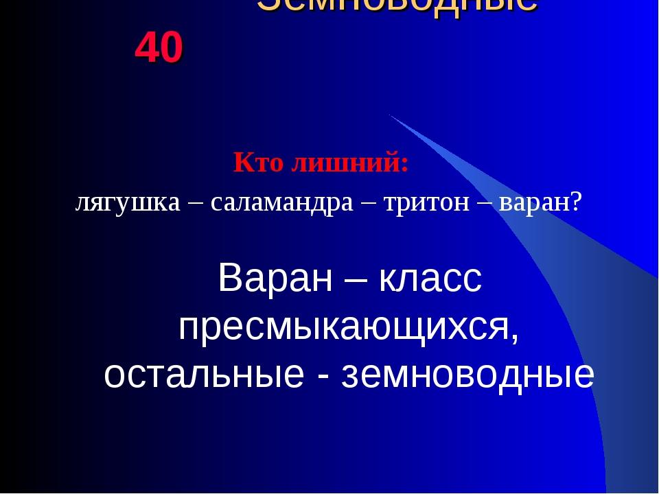 Земноводные 40 Кто лишний: лягушка – саламандра – тритон – варан? Варан – кл...