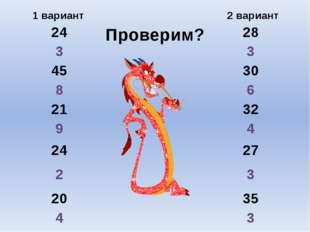 Проверим? 1 вариант 2 вариант 24 28 3 3 45 30 8 6 21 32 9 4 24 27 2 3 20 35 4 3