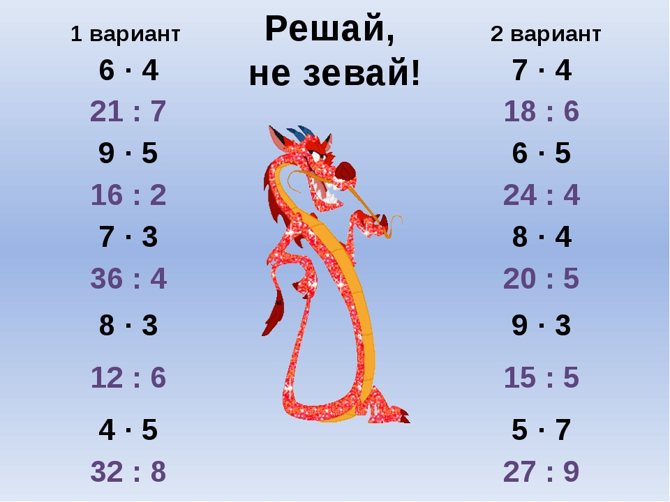 Решай, не зевай! 1 вариант 2 вариант 6 ∙ 4 7 ∙ 4 21 : 7 18 : 6 9 ∙ 5 6 ∙ 5 16...