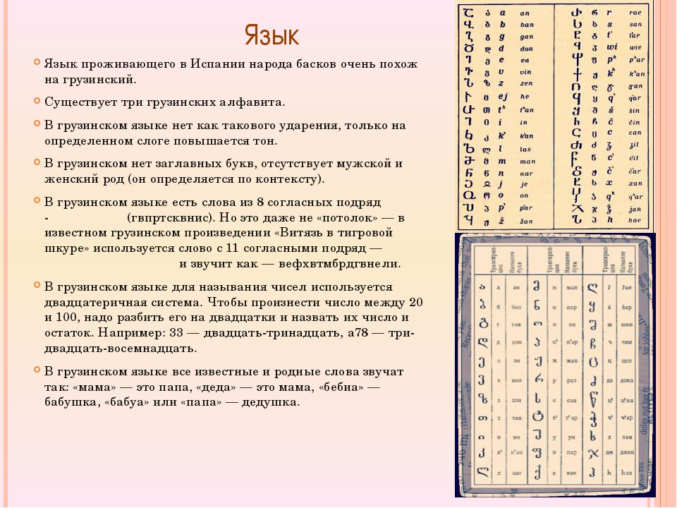 Язык Язык проживающего в Испании народа басков очень похож на грузинский. С...