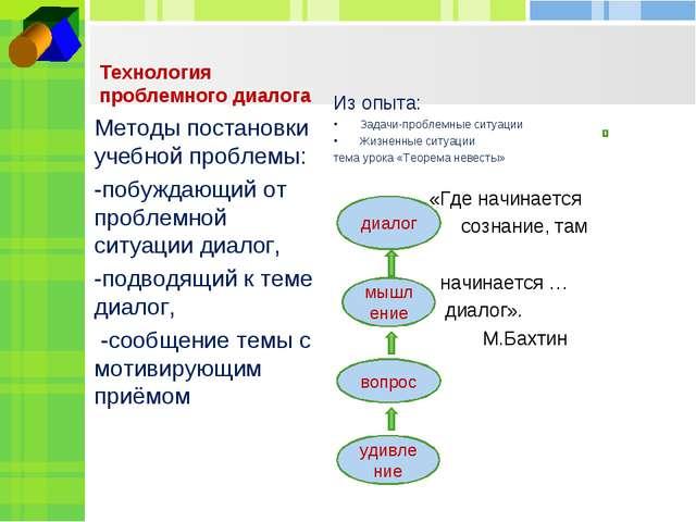 Технология проблемного диалога Из опыта: Задачи-проблемные ситуации Жизненные...