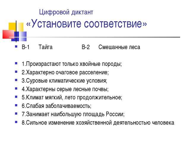 Цифровой диктант «Установите соответствие» В-1 Тайга В-2 Смешанные леса 1.Пр...