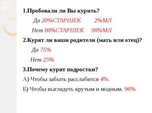1.Пробовали ли Вы курить? Да 20%СТАРШЕК 2%МЛ Нет 80%СТАРШЕК 98%МЛ 2.Курят ли