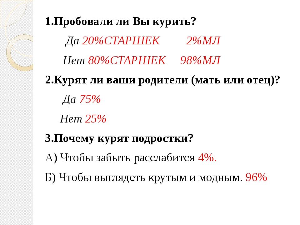 1.Пробовали ли Вы курить? Да 20%СТАРШЕК 2%МЛ Нет 80%СТАРШЕК 98%МЛ 2.Курят ли...