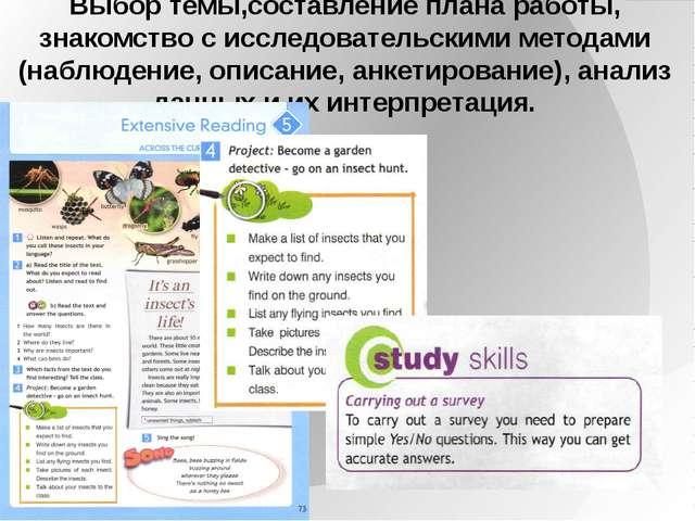 Выбор темы,составление плана работы, знакомство с исследовательскими методами...