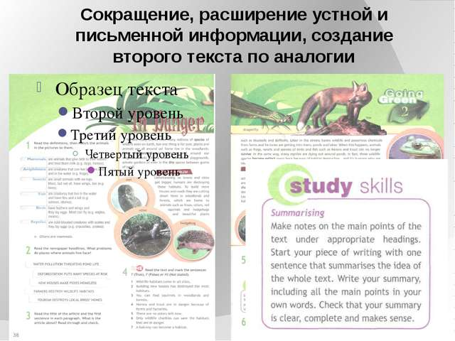 Сокращение, расширение устной и письменной информации, создание второго текст...