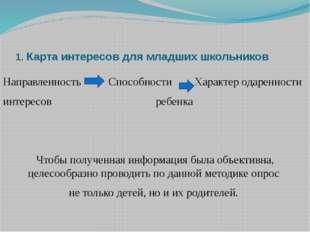 1. Карта интересов для младших школьников Направленность  Способности  Хар