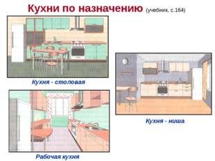 Кухни по назначению (учебник, с.164) Кухня - столовая Кухня - ниша Рабочая ку