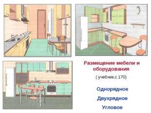 Размещение мебели и оборудования ( учебник,с.170) Однорядное Двухрядное Угло