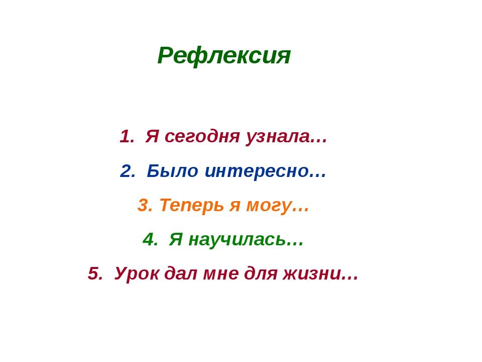 Рефлексия 1. Я сегодня узнала… 2. Было интересно… 3. Теперь я могу… 4. Я науч...