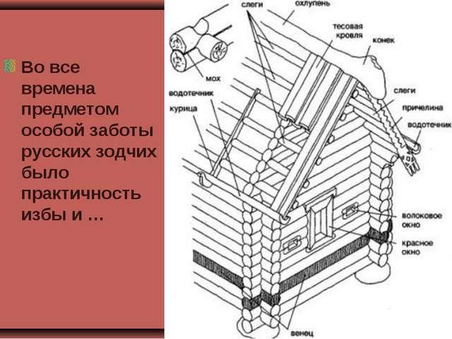 Во все времена предметом особой заботы русских зодчих было практичность избы...