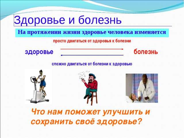 Здоровье и болезнь На протяжении жизни здоровье человека изменяется болезнь з...