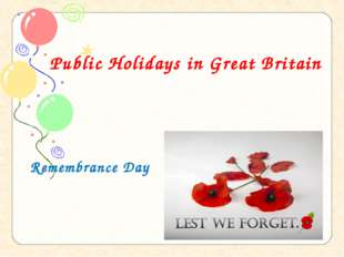 Public Holidays in Great Britain Remembrance Day