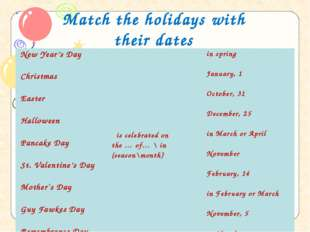 Match the holidays with their dates New Year's Day  Christmas  Easter  Hal