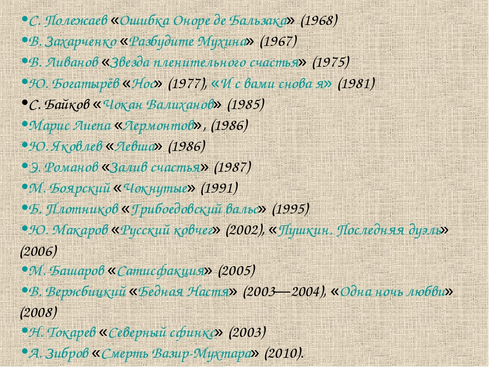 С. Полежаев «Ошибка Оноре де Бальзака» (1968) В. Захарченко «Разбудите Мухина...