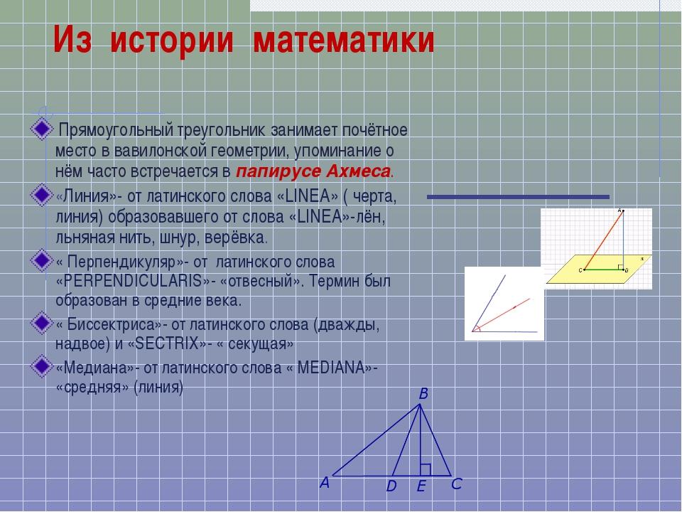 Из истории математики Прямоугольный треугольник занимает почётное место в ва...