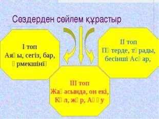 Сөздерден сөйлем құрастыр І топ Аяғы, сегіз, бар, өрмекшінің ІІІ топ Жағасынд