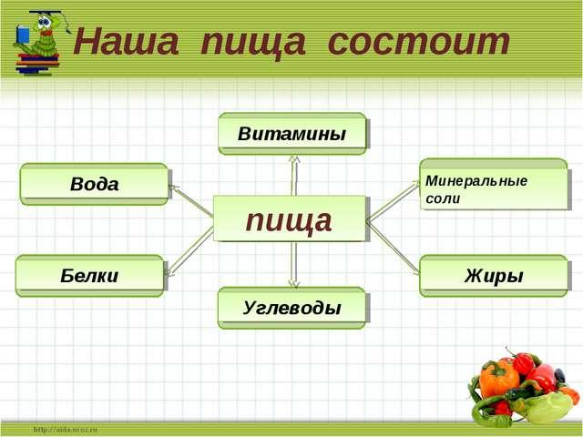 Наша пища состоит Наша пища состоит пища Белки Углеводы Жиры Минеральные соли...