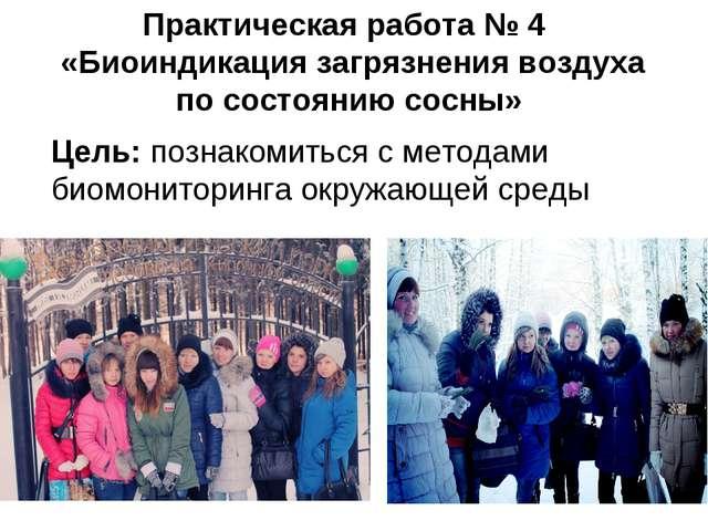 Практическая работа № 4 «Биоиндикация загрязнения воздуха по состоянию сосны»...