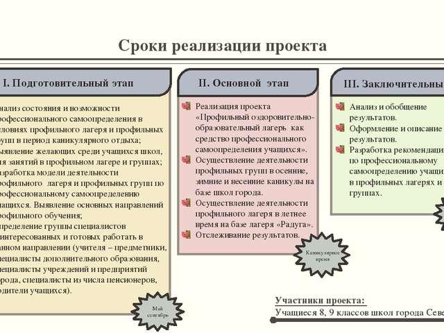 Сроки реализации проекта Анализ состояния и возможности профессионального сам...