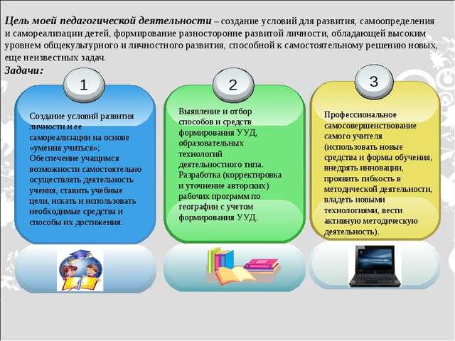 Цель моей педагогической деятельности – создание условий для развития, самооп...