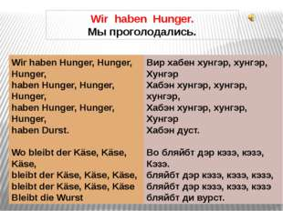 Wir haben Hunger. Мы проголодались. Wir haben Hunger, Hunger, Hunger, haben H