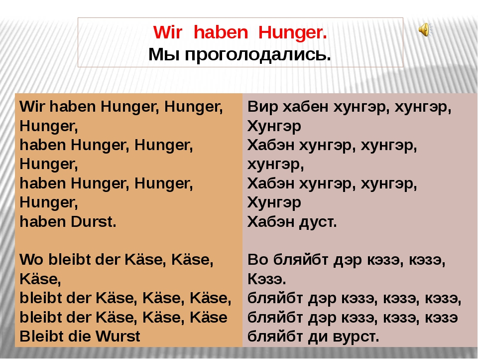 Wir haben Hunger. Мы проголодались. Wir haben Hunger, Hunger, Hunger, haben H...
