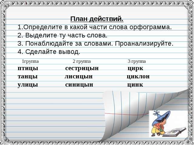 План действий. Определите в какой части слова орфограмма. 2. Выделите ту част...