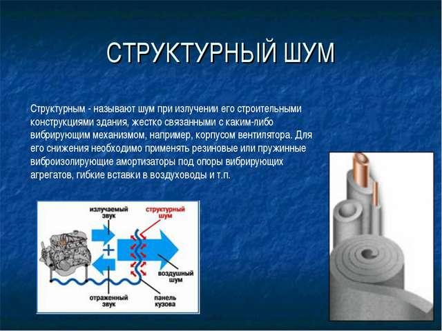 СТРУКТУРНЫЙ ШУМ Структурным - называют шум при излучении его строительными ко...