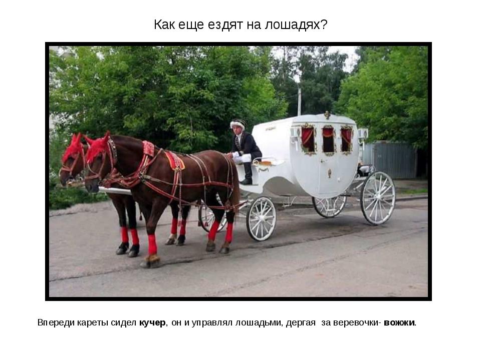 Как еще ездят на лошадях? Впереди кареты сидел кучер, он и управлял лошадьми,...