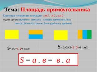 Тема: Площадь прямоугольника Единицы измерения площади: см 2, м 2 , км 2 Зада