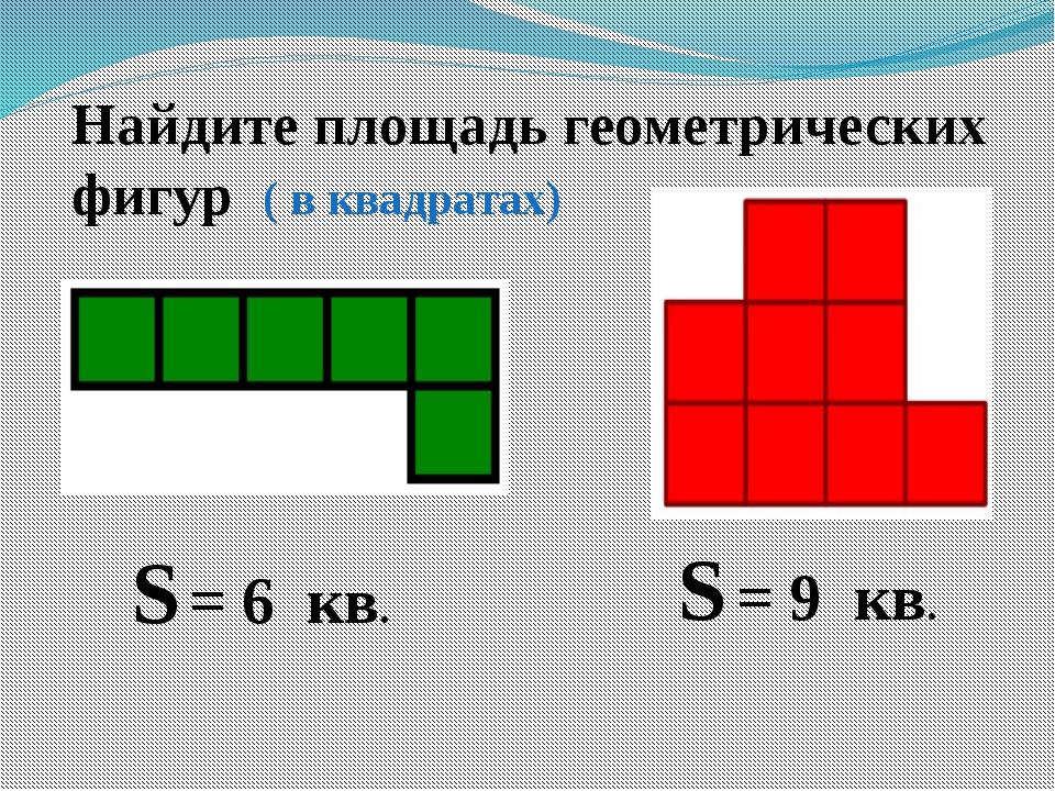Найдите площадь геометрических фигур ( в квадратах) S = 9 кв. S = 6 кв.