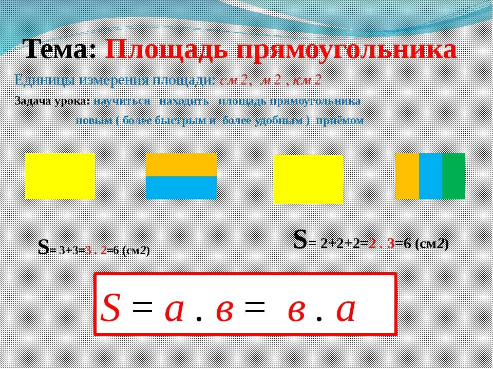 Тема: Площадь прямоугольника Единицы измерения площади: см 2, м 2 , км 2 Зада...
