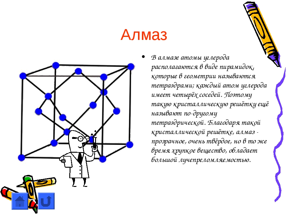 Алмаз В алмазе атомы углерода располагаются в виде пирамидок, которые в геоме...