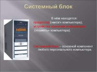 В нём находятся: процессор («мозг» компьютера); устройства хранения информац