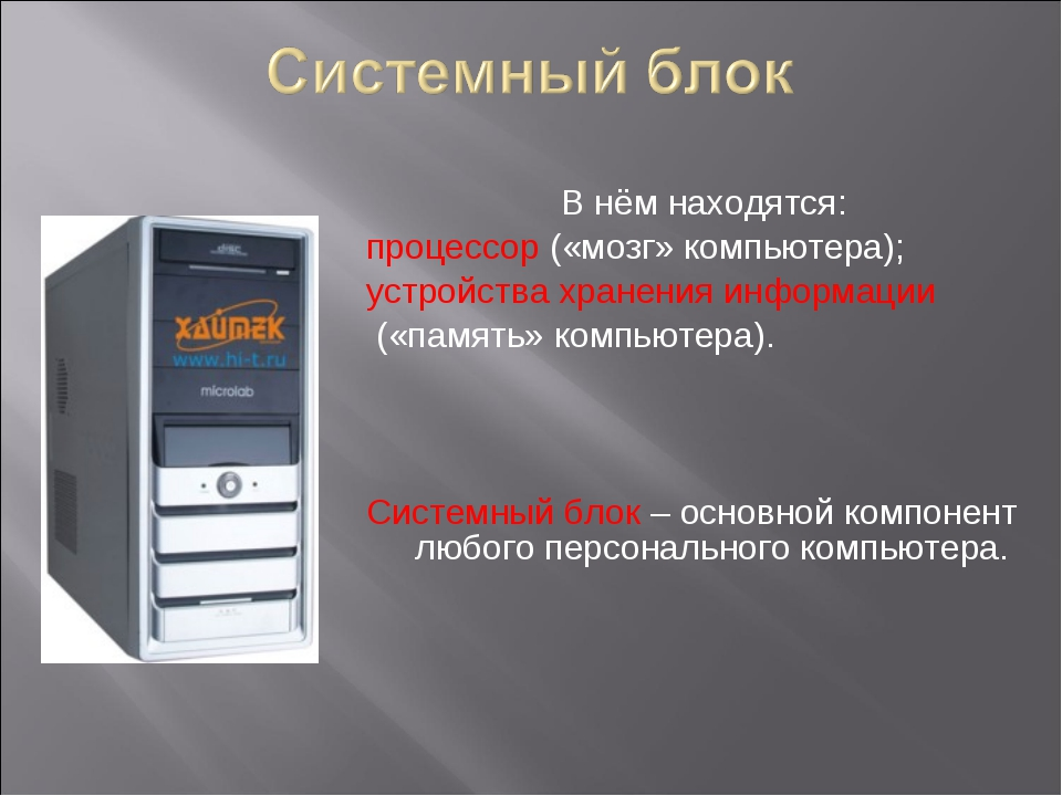 В нём находятся: процессор («мозг» компьютера); устройства хранения информац...