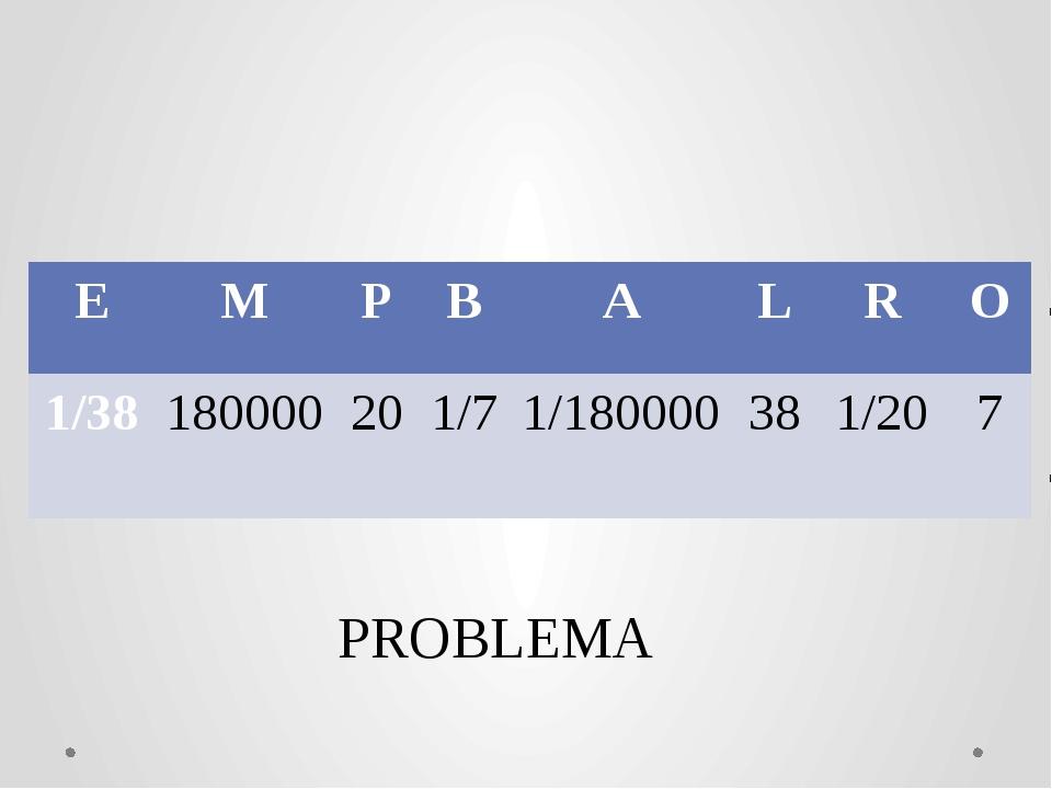 PROBLEMА E M P B A L R O 1/38 180000 20 1/7 1/180000 38 1/20 7