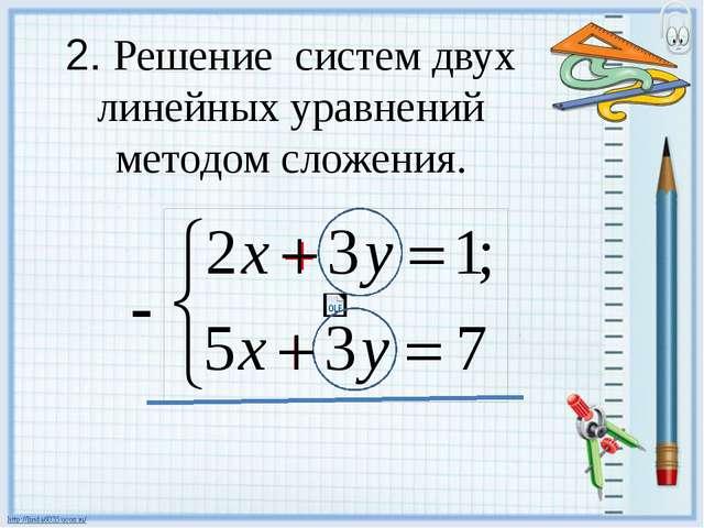 2. Решение систем двух линейных уравнений методом сложения. -