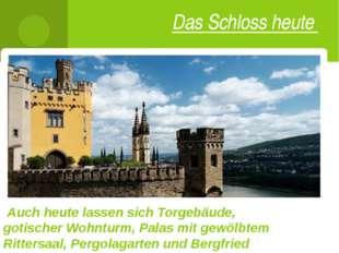 Das Schloss heute Auch heute lassen sich Torgebäude, gotischer Wohnturm, Pala