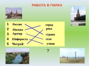 ? РАБОТА В ПАРАХ Россия Москва Шафороста город страна село 1 2 река 3 Арзгир