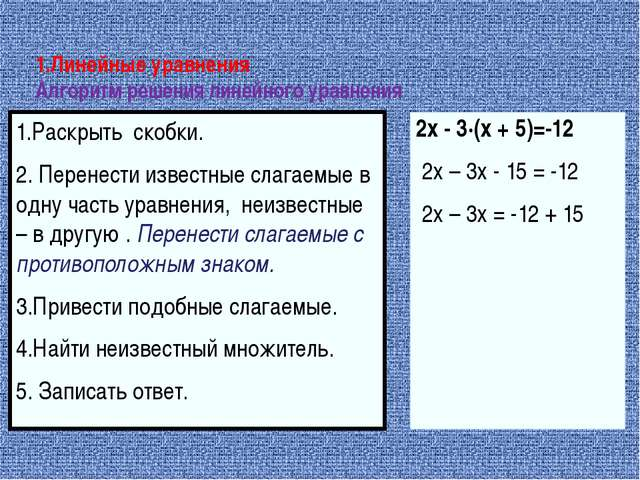1.Линейные уравнения Алгоритм решения линейного уравнения 1.Раскрыть скобки....