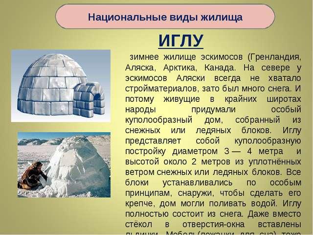 ИГЛУ зимнее жилище эскимосов (Гренландия, Аляска, Арктика, Канада. На севере...