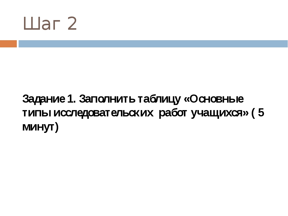 Шаг 2 Задание 1. Заполнить таблицу «Основные типы исследовательских работ уча...