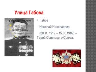 Улица Габова Габов Николай Николаевич (28.11. 1919 – 15.03.1982) – Герой Сов