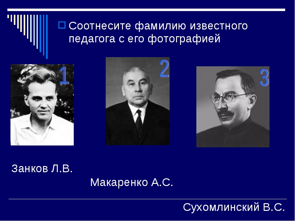 Соотнесите фамилию известного педагога с его фотографией Занков Л.В. Макаренк...