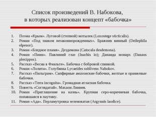 Список произведений В. Набокова, в которых реализован концепт «бабочка» Поэма