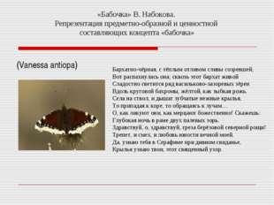 «Бабочка» В. Набокова. Репрезентация предметно-образной и ценностной составля