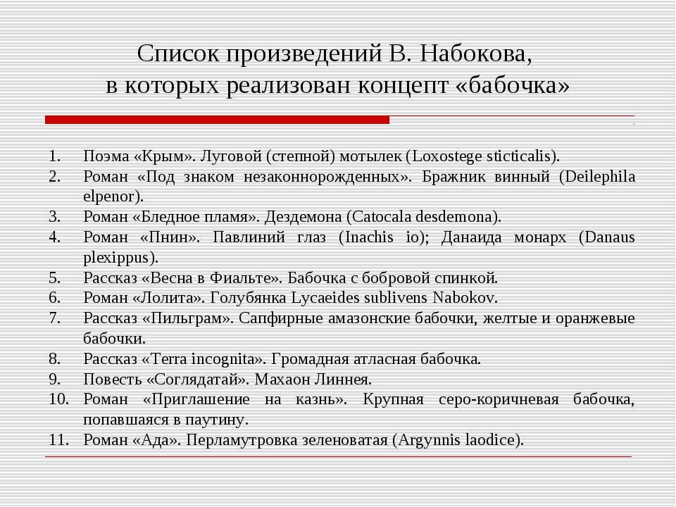 Список произведений В. Набокова, в которых реализован концепт «бабочка» Поэма...